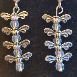 Silver insect dangle earrings